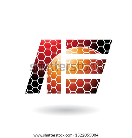 Orange and Red Dual Letters of A and E with Honeycomb Pattern Ve Stock photo © cidepix