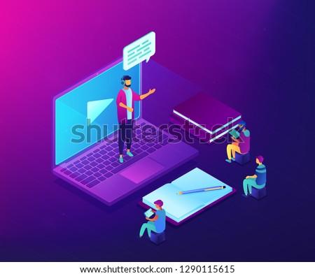 Stockfoto: Online · onderwijs · moderne · kleurrijk · isometrische · witte