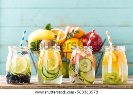 variety of detox infused water diet healthy drink stock photo © illia