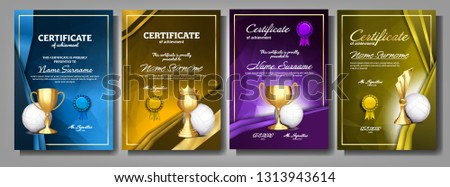 Volleyball Game Certificate Diploma With Golden Cup Set Vector. Sport Award Template. Achievement De Stock photo © pikepicture