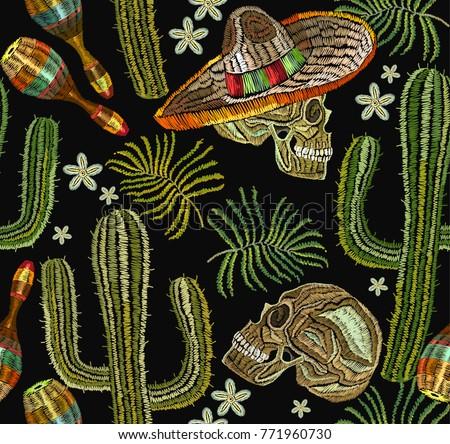 Végtelenített vektor mexikói virágmintás minta szombréró Stock fotó © RedKoala