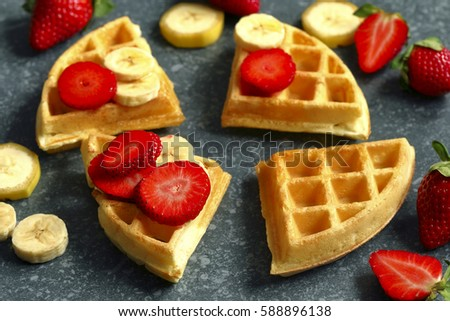 Waffles with strawberries and banana stock photo © furmanphoto