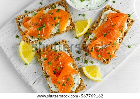Stock photo: bread with cheese and salmon