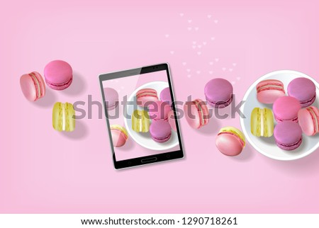 Macaroons realistic Vector. Tablet taking macaroons photo template layout 3d illustration. Menu dess Stock photo © frimufilms