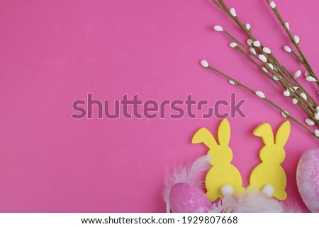 Easter decor with willow branches silhouettes of birds and colorful eggs isolated on white backgroun Сток-фото © Lady-Luck