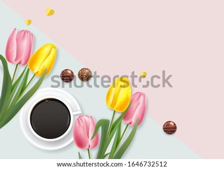 Foto d'archivio: Cup · caffè · tulipano · fiori · vettore · realistico