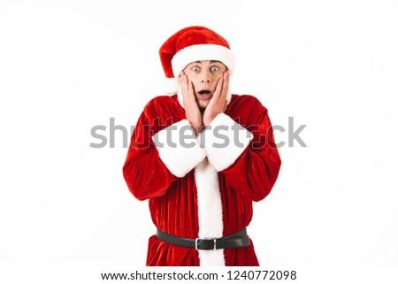 Portret geschokt man 30s kerstman kostuum Stockfoto © deandrobot
