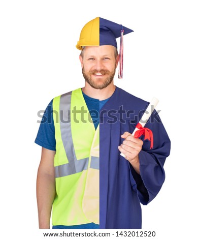 Split Screen Male Graduate In Cap and Gown to Engineer in Hard H Stock photo © feverpitch