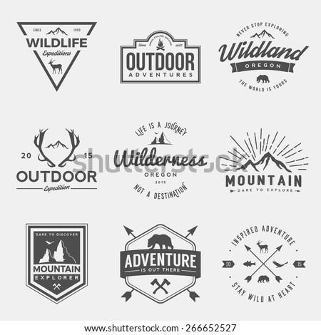 Camping distintivo projeto ao ar livre aventura logotipo Foto stock © JeksonGraphics