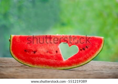Stück Herz Hintergrund Grün Wassermelone Raum Stock foto © galitskaya