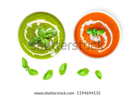 White bowl plate of creamy tomato soup with spoon on light table background with box of raw tomatoes Stock photo © DenisMArt