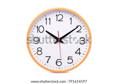 Análogo parede relógio isolado branco mãos Foto stock © szefei