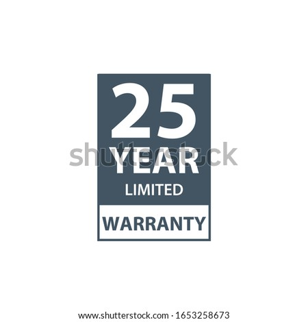 25 years limited warranty icon or label, certificate for customers, warranty stamp or sticker. vecto Stock photo © kyryloff