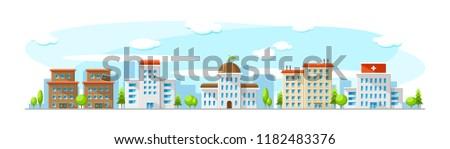 Stadsgezicht oude moderne gebouwen zoals ziekenhuis Stockfoto © karetniy