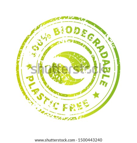 Biodegradable icon, bright green Plastic free round symbol with leaves and grunge texture isolated o Stock photo © evgeny89