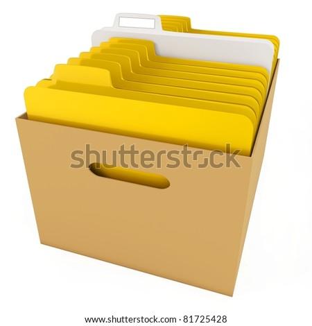 Yellow file folders in cardboard box 3D Stock photo © djmilic