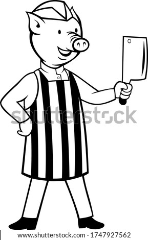 Pig Butcher Holding A Meat Cleaver Knife Cartoon Black and White Stock photo © patrimonio