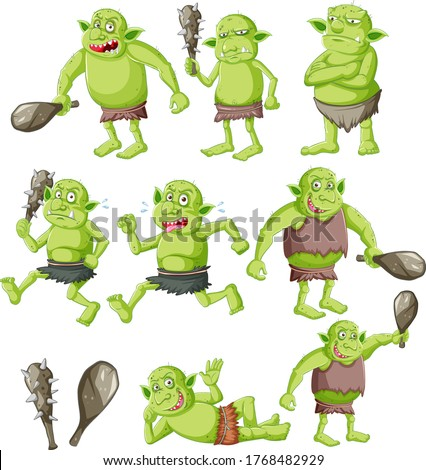 Set of goblin or troll with hunting tool isolated on whie backgr Stock photo © bluering