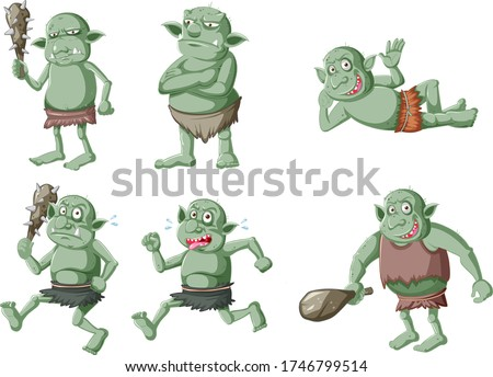 Set of green goblin or troll in different poses in cartoon chara Stock photo © bluering