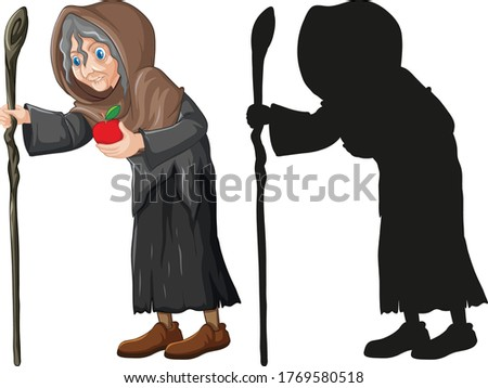 Old witch with red apple in color and silhouette cartoon charact Stock photo © bluering