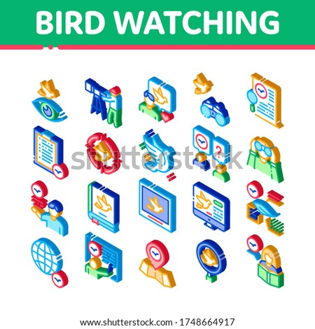 Bird Watching Tourism Isometric Icons Set Vector Stock photo © pikepicture