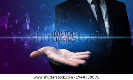 Hand holding social media related inscription Stock photo © ra2studio