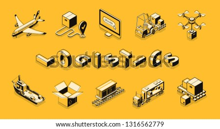 Airplane Delivery Postal Transportation Company isometric icon vector illustration Stock photo © pikepicture