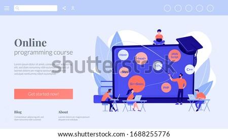 Codering workshop landing pagina script schrijven Stockfoto © RAStudio