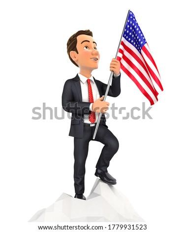 3D empresario bandera Estados Unidos superior Foto stock © 3dmask