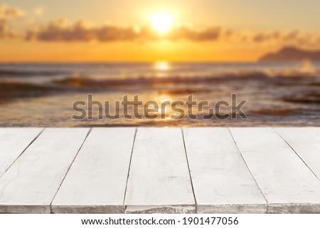 空っぽ 白 木製 海景 日没 テンプレート ストックフォト © artjazz