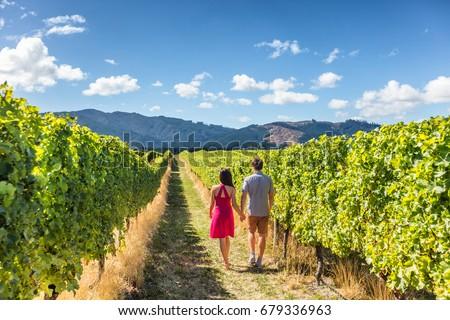 Vinha casal turistas Nova Zelândia viajar região Foto stock © Maridav
