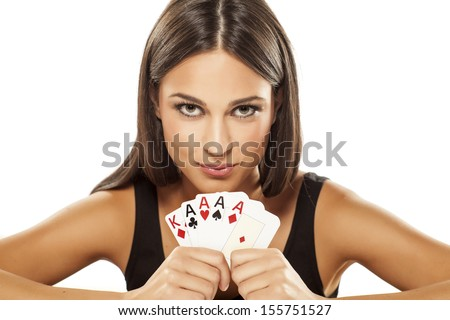 молодые люди игральных карт девушки победа стороны Сток-фото © photography33