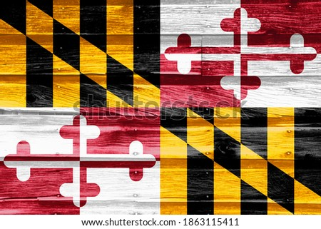 flag of US state of maryland on grunge wooden texture precise pa stock photo © vepar5