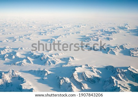 birds view from the plane to the glaciers and ice flows of the a Stock photo © meinzahn