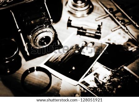 still life vintage stylized lithprint with retro photo camera a stock photo © tolokonov