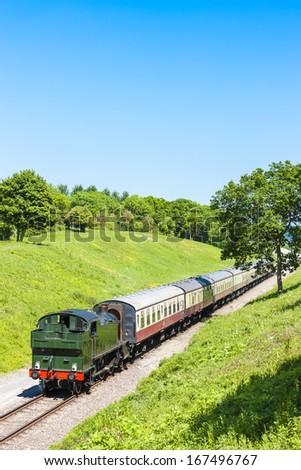 stoom · trein · locomotief · illustratie · zijaanzicht · ingesteld - stockfoto © phbcz