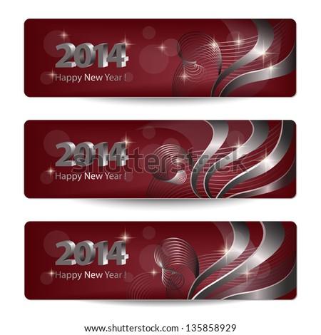 new year 2014 shiny reflection template background swirl wave ve stock photo © bharat