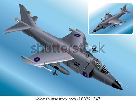 Detailed Isometric Vector Illustration of Royal Navy Sea Harrier Stock photo © VectaRay