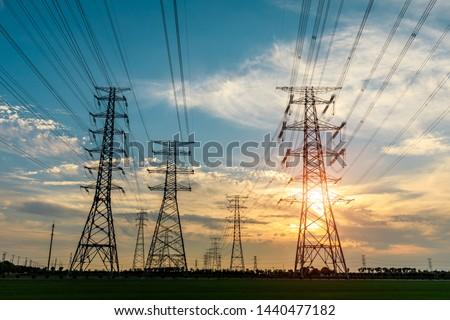 Nagyfeszültség torony égbolt absztrakt fény technológia Stock fotó © meinzahn