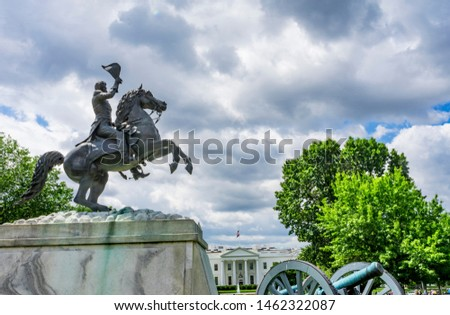 Estatua parque casa blanca otono cuadrados Washington DC Foto stock © billperry