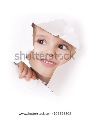 twarz · patrząc · otwór · papieru · dziecko · biały - zdjęcia stock © paha_l