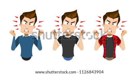 Irritated furious young business man shouting and showing fist  Stock photo © deandrobot