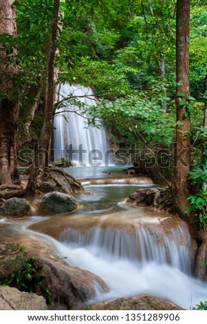 erawan forest waterfall at national park level 7 kanchanaburi thailand stock photo © frameangel