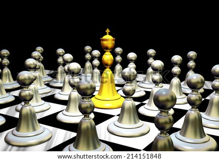 loneliness gold pawn chess metaphor 3d illustration rendering stock photo © grechka333