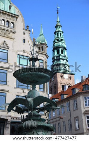 Centraal voetganger Kopenhagen Denemarken hemel water Stockfoto © vladacanon
