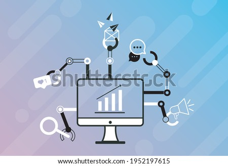 Desktop crm icon ontwerp business financieren Stockfoto © WaD