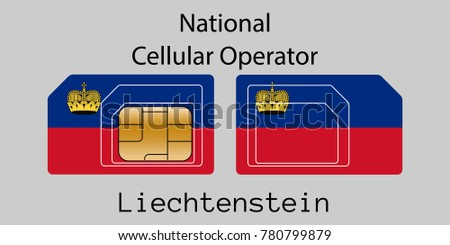 Liechtenstein mobile operator. SIM card with flag. Vector illustration. Stock photo © Leo_Edition