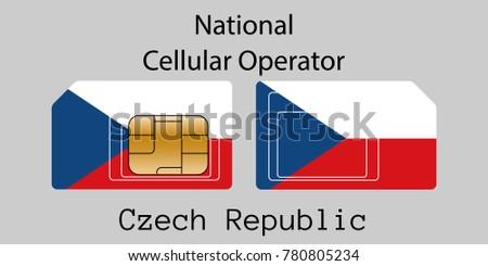Сток-фото: чешский · республика · мобильных · оператор · карт · флаг