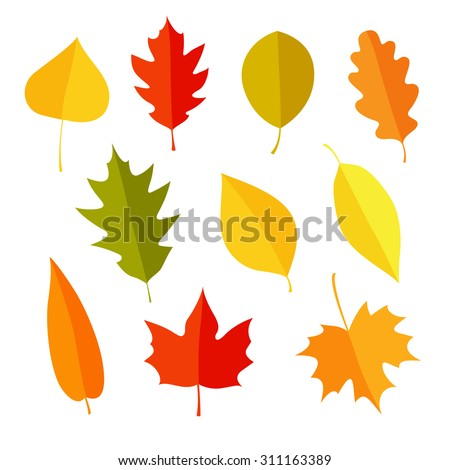 autumn icons set flat or cartoon stylecollection design elements with yellow leaves trees mushroo stock photo © lucia_fox