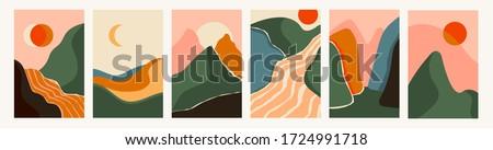 Ayarlamak doğa manzara arka siluetleri dağlar Stok fotoğraf © Leo_Edition